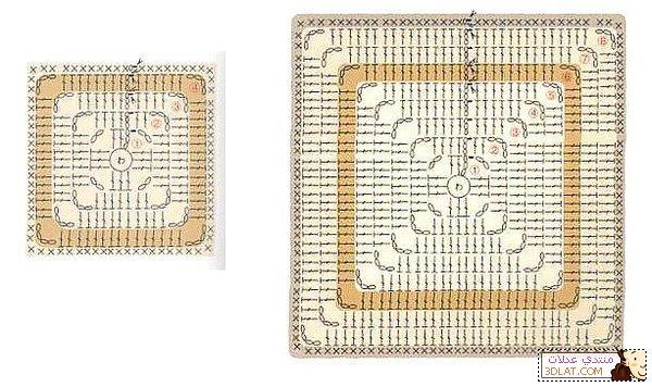 مفرش كروشيه مربع الخطوات والباترون 129280457813.jpg