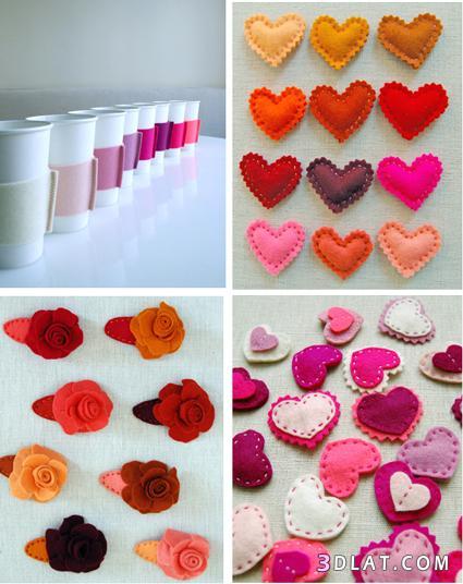 أعمال يدوية من الجوخ,عمل قلوب رومانسية من الجوخ,افكار هدايا رقيقة بطريقة يدوية