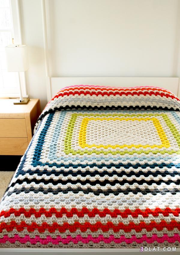 بطانية سرير من الكروشية مفرش سرير من الصوف بطانية كروشية جميلة مفرش ملون