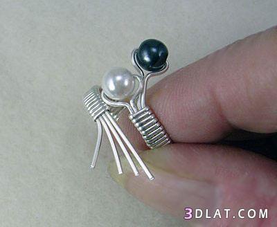 اكسسوار هاند ميد .خاتم جميل من الؤلؤ والسلك اكسسوار من صنع يدك