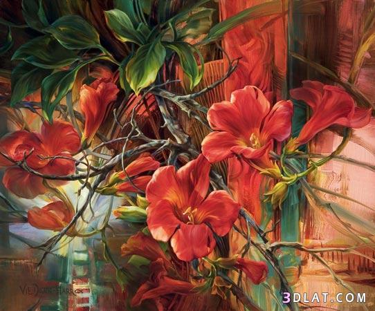 لوحـــات الـــورد بالالوان الزيتية ، لوحات بالالوان مميزة