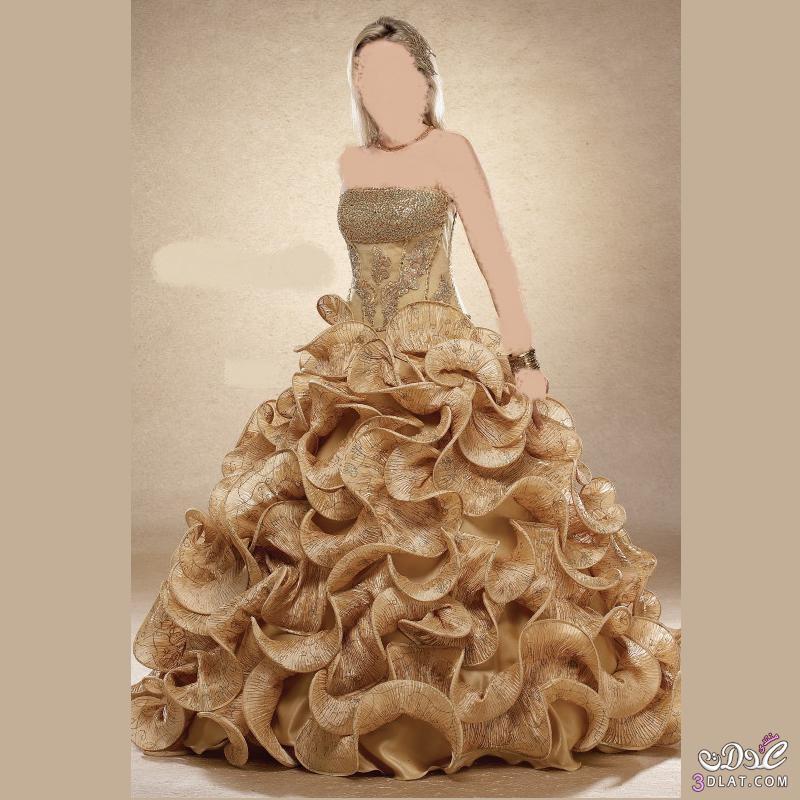 أحلى فساتين زواج 2021  باللون الذهبي,اجمل الفساتين باللون الذهبي للزواج 2021 ,فساتين جميلة