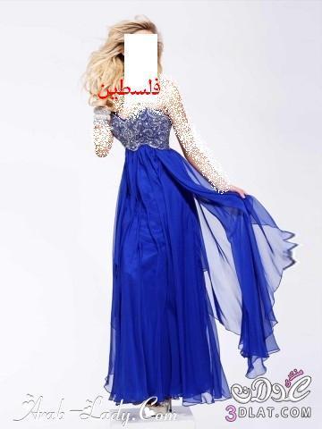 فساتين سهرة طويلة باللون الازرق اجمل 13808098113.jpg