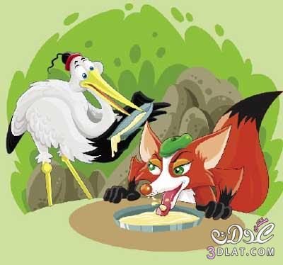 الثعلب وطائر الغرنوق حكاية روسية للأطفال 13809673971.jpg
