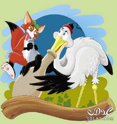 الثعلب وطائر الغرنوق حكاية روسية للأطفال 13809673982.jpg