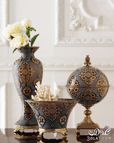 الفازات الذهبية ديكورات تحف فيلات أرقى فازات ورد تحف فخمةمنزلية تحف إيطالي