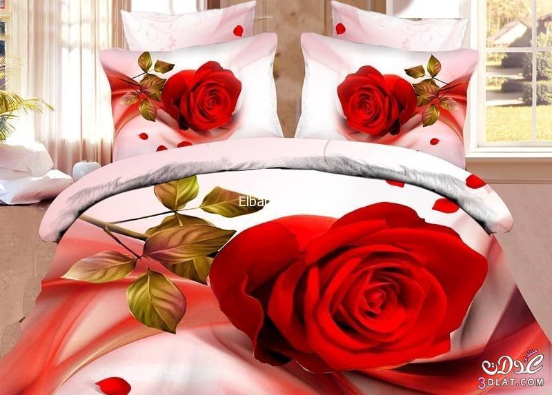 مفارش سرير 2018 للعرايس, مفارش سرير برسومات الورد, احدث مفارش غرف