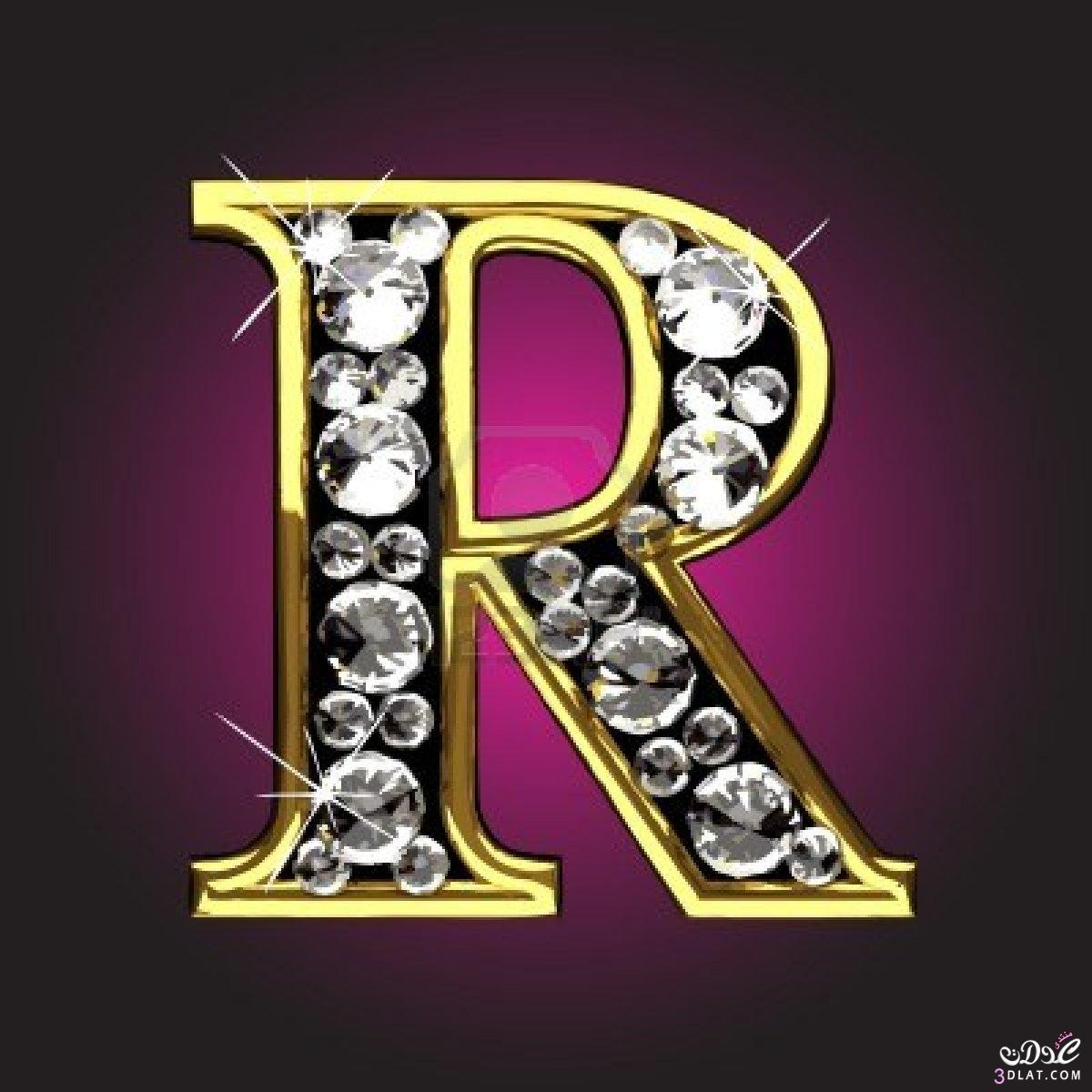 R Letter In Black Diamonds حروف انجليز�...