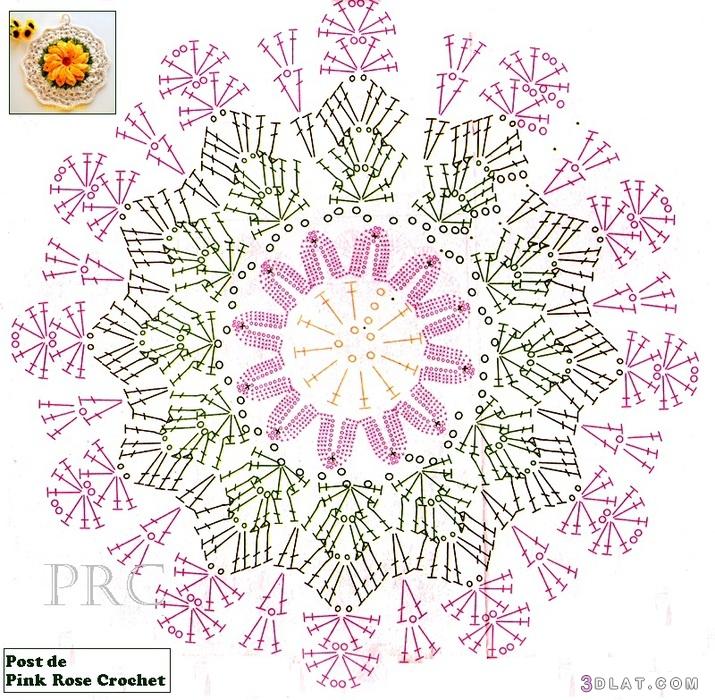 طريقة مفرش صغير للمطبخبالكروشية2019,مفرش الوردة بالكروشية 3dlat.com_05_19_3337