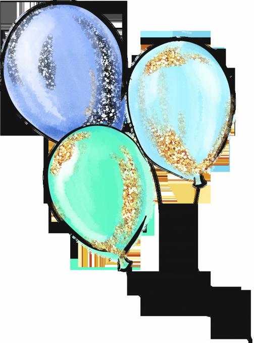 سكرابز بالونات ازرق،سكرابز بالونات العيد 2021 png