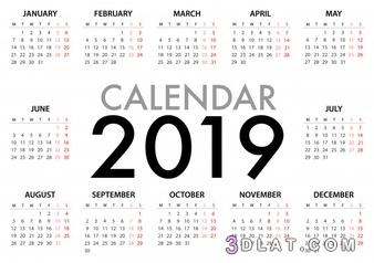 التقويم الميلادي 2019 التقويم الميلادى لعام 3dlat.com_07_18_372c