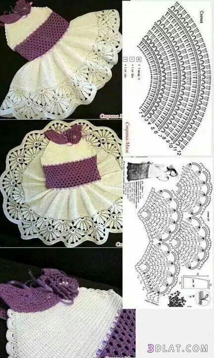 2d5a758410da8 فساتين كروشية للاطفال بالباترون.طريقة عمل فستان كروشية للاطفال2020 ...