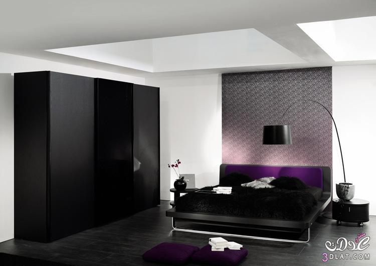 نعومه اللون الاسود فى غرف النوم , غرف نوم فخمه , غرف نوم مودرن