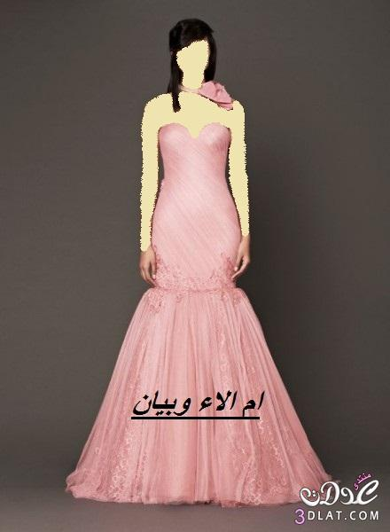 فساتين زفاف وخطوبة بالوان الورود لموسم 2014,احلى فساتين خطوبة وزفاف ملونة للعروس