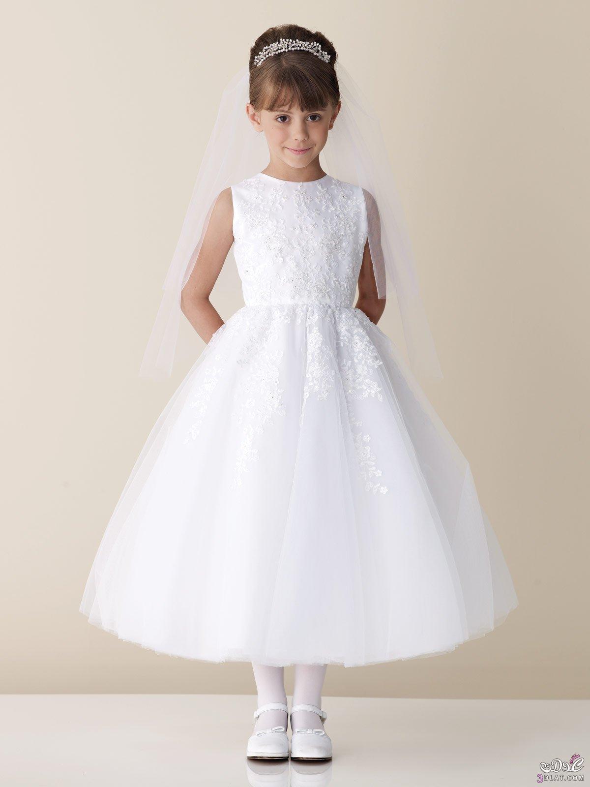 63a07b1bc فساتين زفاف اطفال 2020 , فساتين اطفال باللون الابيض - نم نم