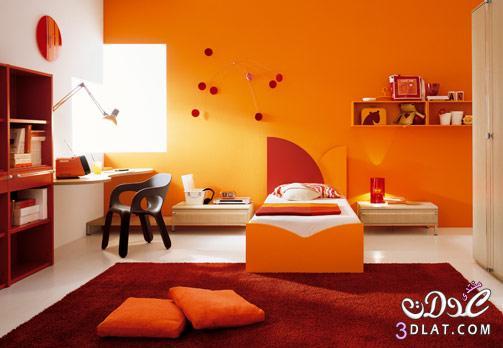 ديكورات مودرن باللون البرتقالي احدث