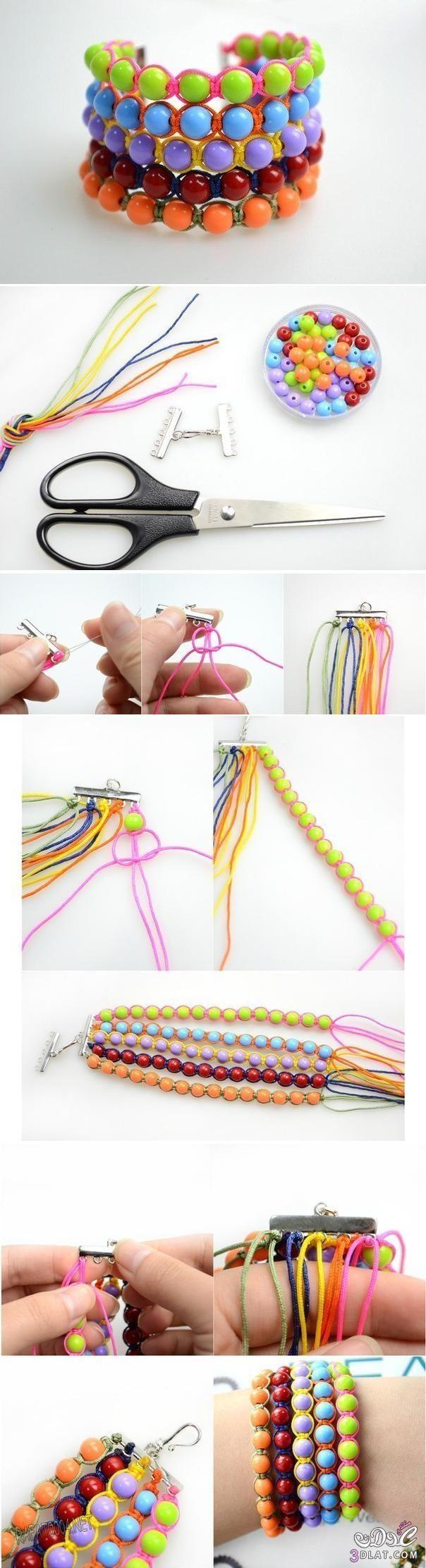 تعلم كيفية صنع اساور سريعة من الخرز Quick Beads Bracelet  اسوارة جميلة من الخرز