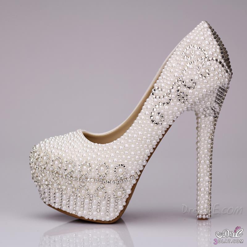 59e3b35bb white pearl diamond flowers closed toe stiletto heel wedding shoes, أحذية,  أفراح, الملونة2014