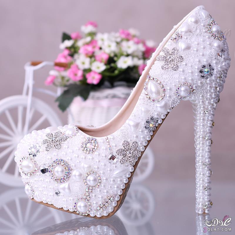 1c16d306d white pearl diamond flowers closed toe stiletto heel wedding shoes, أحذية,  أفراح, الملونة2014