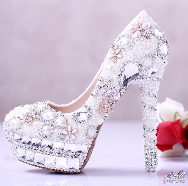 9d0518d90 white pearl diamond flowers closed toe stiletto heel wedding shoes, أحذية,  أفراح, الملونة2014