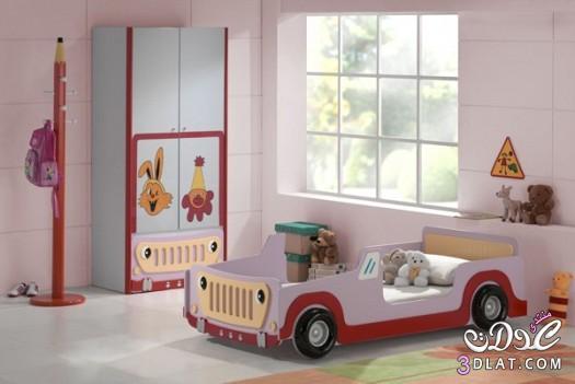 غرف نوم أولاد سيارات , غرفة نوم أولاد سيارة بسيطة بالأحمر ,غرفة
