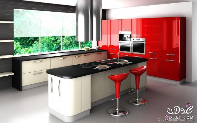 3dlat.com 139930604610 تصميم مطبخ عصري حديث بألوان مودرن