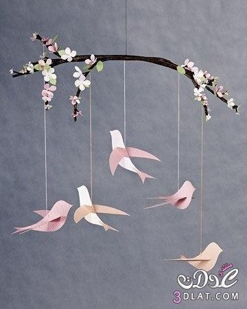 عصافير الجنة من الورق لغرف الاولاد 3dlat.com_1399416731