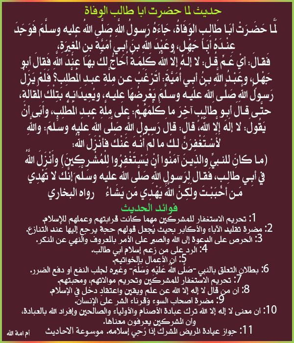 شرح والمستفاد من حديث _لما حضرت ابا طالب الوفاة