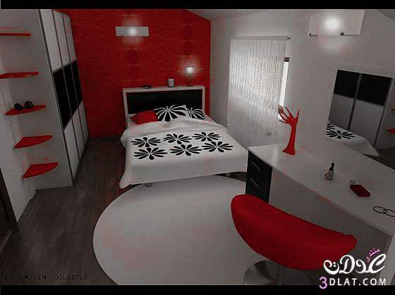 ديكور احمر لغرف النوم .غرف نوم باللون الاحمر 2018 ,غرف نوم خياليه