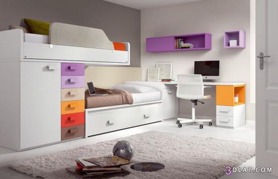 غرف نوم اطفال مودرن 2018 , اجمل غرف نوم اطفال للمساحات الصغيره