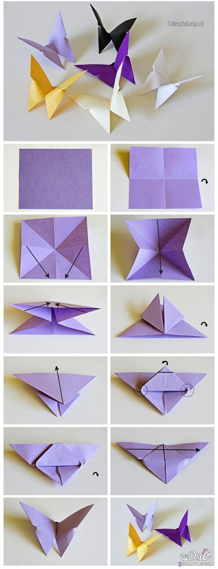 [صور] فراشة ورقية بالخطوات المصورة اصنعيها للزينة بنفسك فن طي الورق 3dlat.com_1415297915