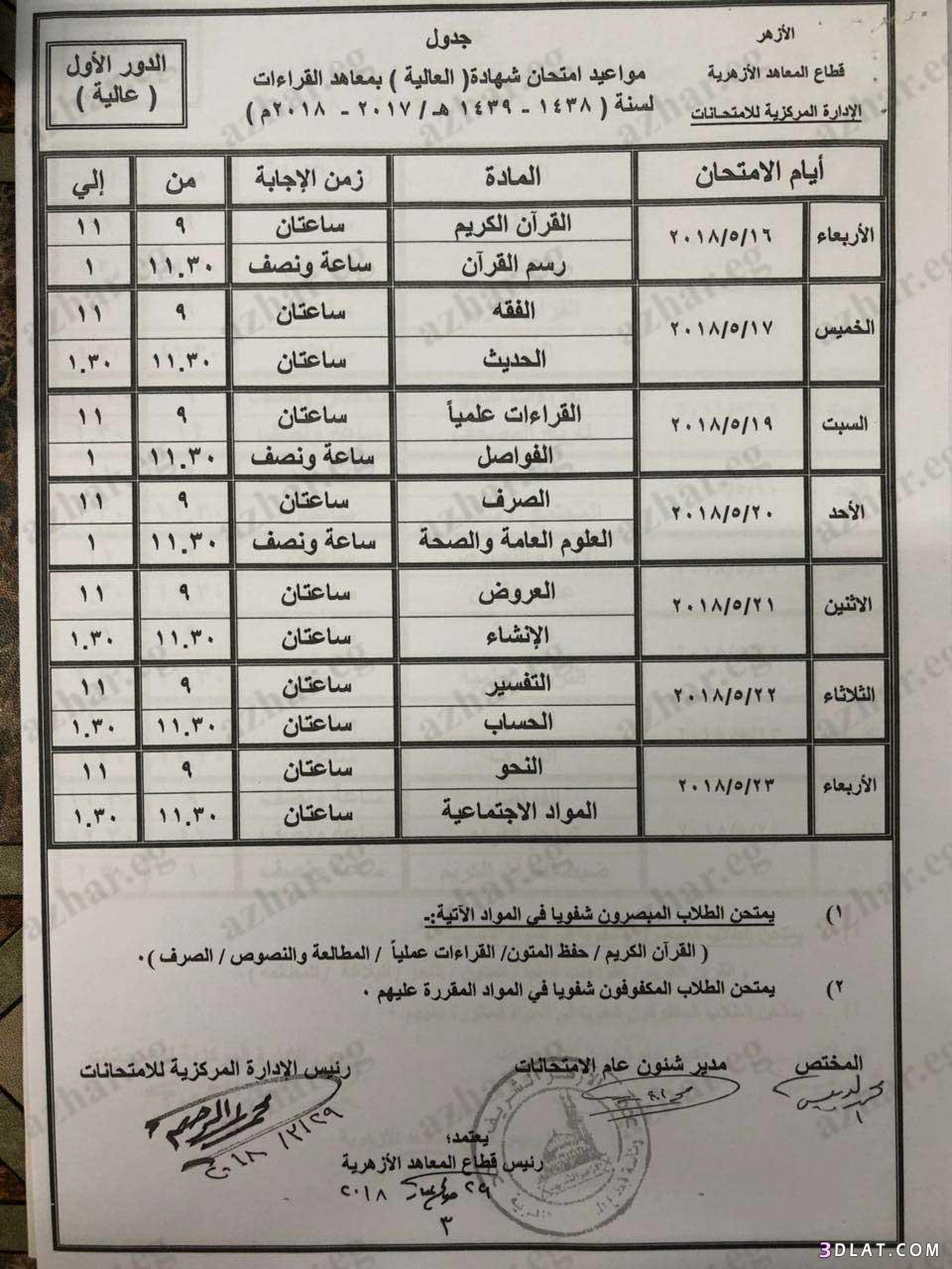 جدول امتحانات الترم الثاني معاهد القراءات 3dlat.com_21_18_258e