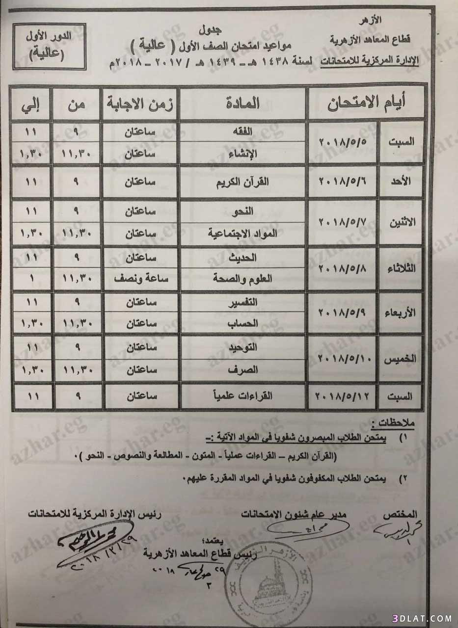 جدول امتحانات الترم الثاني الثانوي الصف الأول الصف الثاني الأزهري