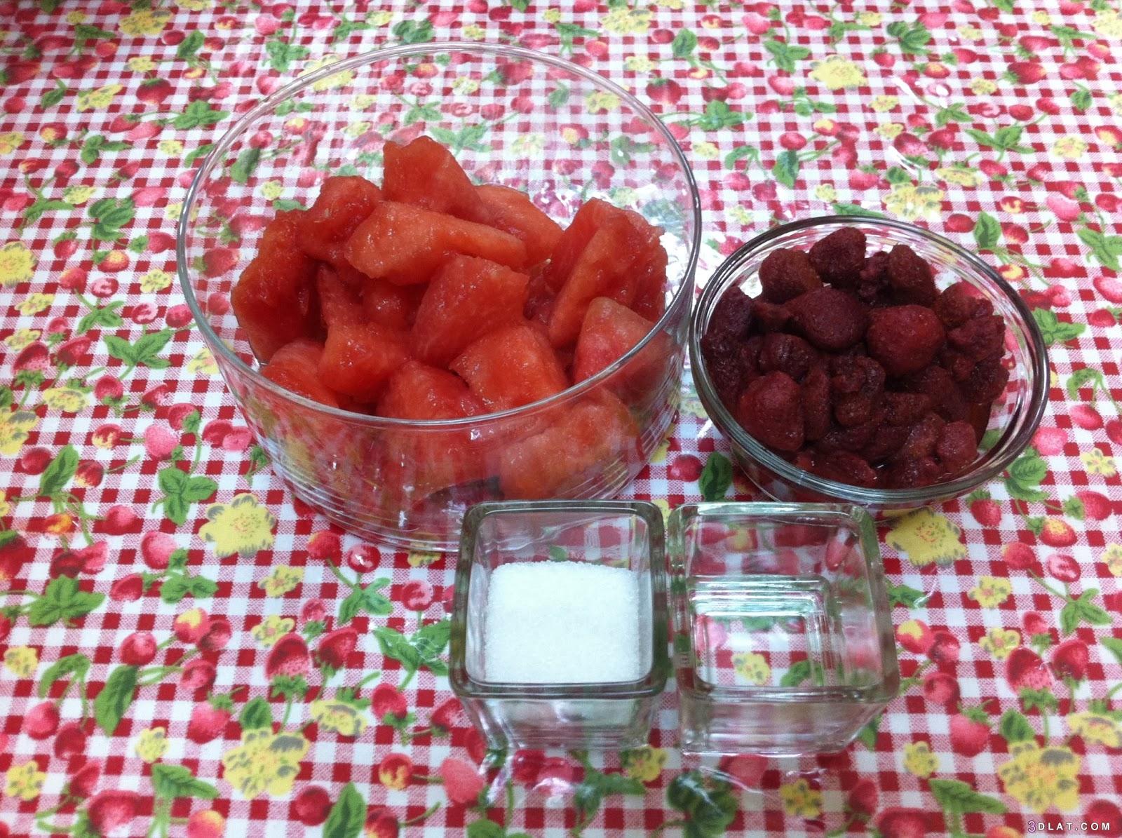 البطيخ, عصير, والفراولة, والفراولة،طريقة