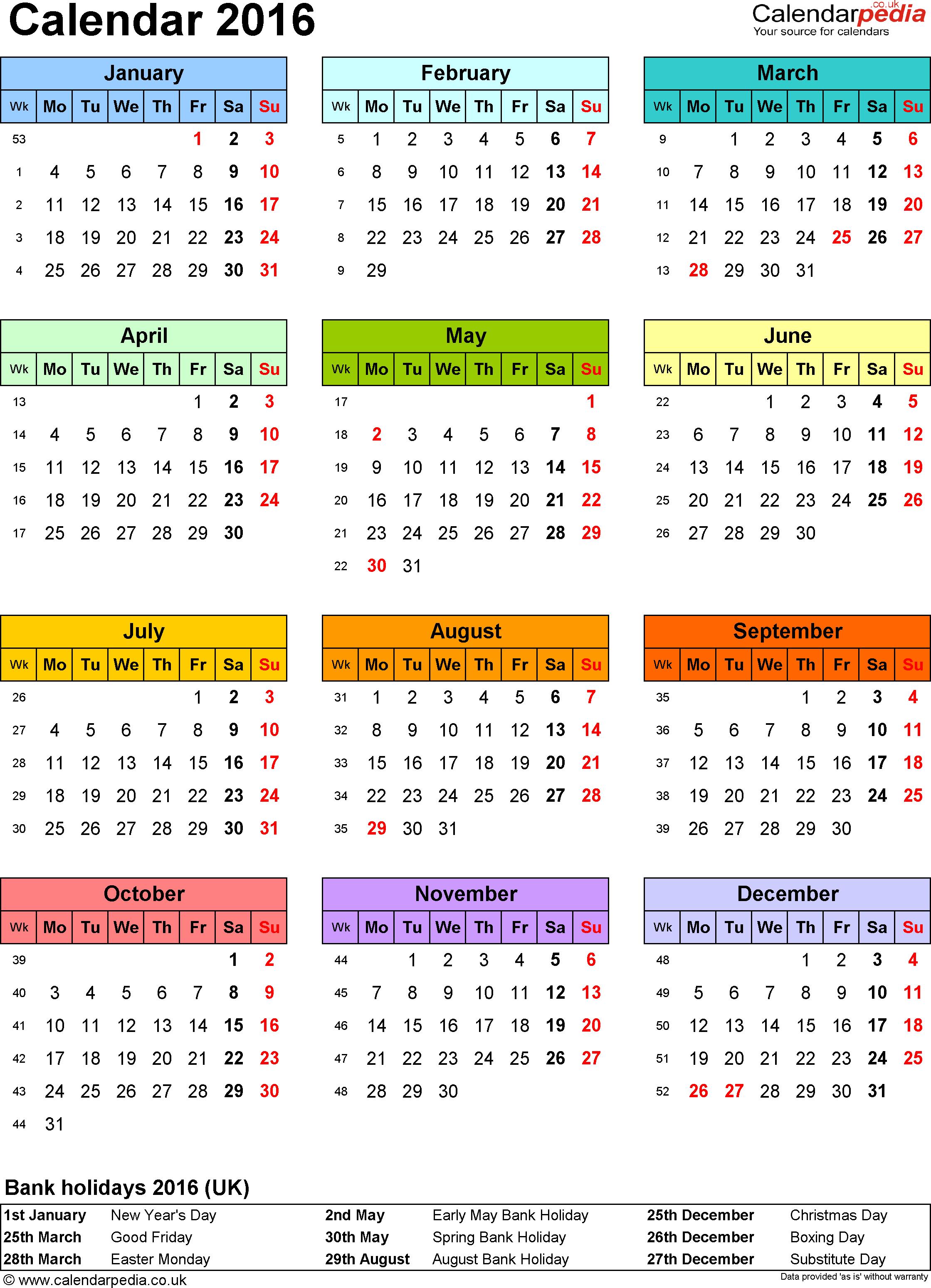 ... 2016 , رزنامة العام الميلادي 2016 , Calendar 2016