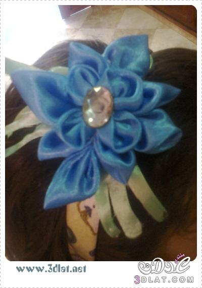 [اعمالي] أشغالي اليدوية لبناتي ، إكسسوار شعر بالساتان باللون الازرق والأخضر 3dlat.net_08_15_19dd