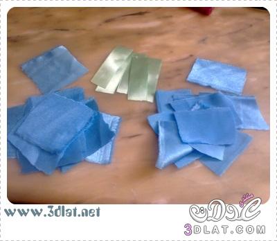 [اعمالي] أشغالي اليدوية لبناتي ، إكسسوار شعر بالساتان باللون الازرق والأخضر 3dlat.net_08_15_c623
