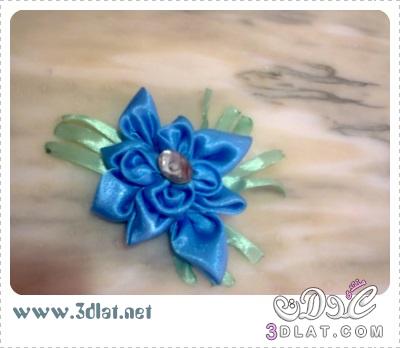 [اعمالي] أشغالي اليدوية لبناتي ، إكسسوار شعر بالساتان باللون الازرق والأخضر 3dlat.net_08_15_e7c2