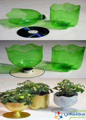 بالصور اعمال يدوية  من القناني البلاستيكية رائعة لتزيين المنزل