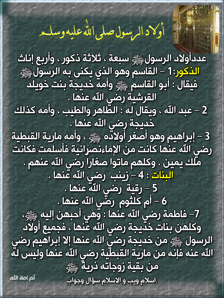 أولاد الرسول صلى الله عليه وسلم مع ذكر أسماء أمهاتهم أم أمة الله