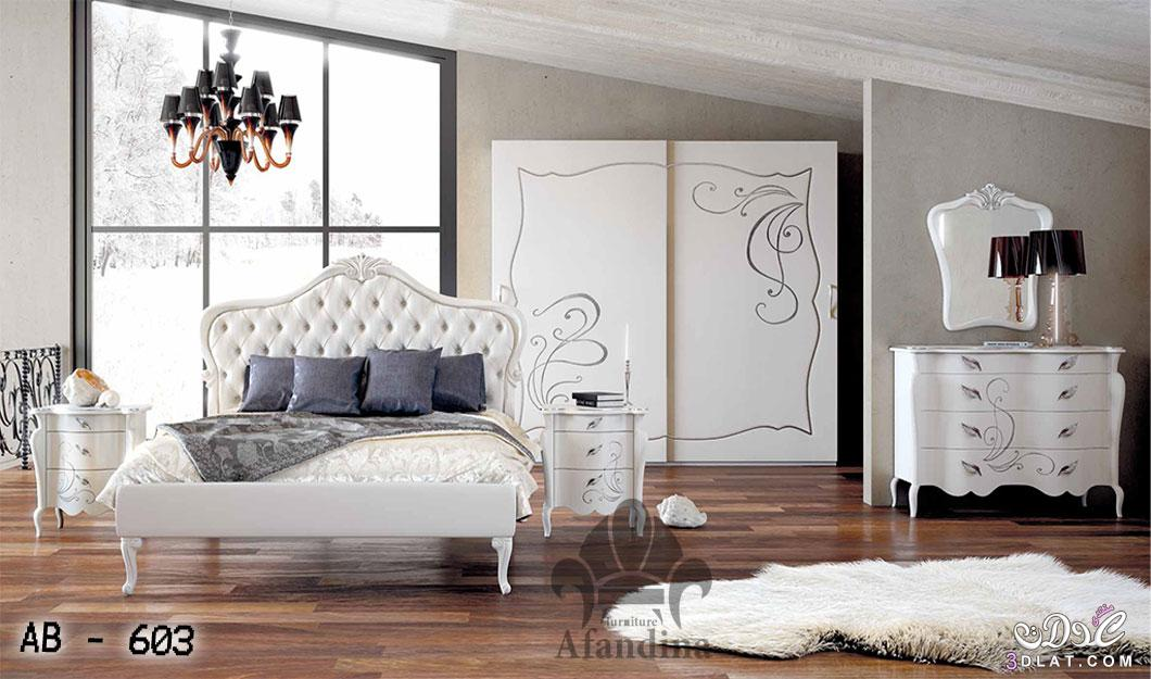 غرف نوم بيضاء رقيقة.احدث صيحه فى موديلات الاثاث غرف نوم كلاسكية